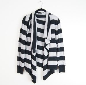 Sweaters - Stripped Open Front Cardigan